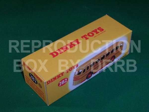 Dinky #282 (29h) Duple Roadmaster Coach Reproduction Box ( Yellow with Red flashes )